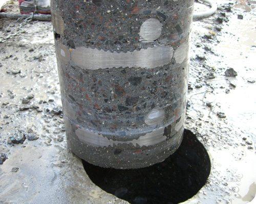 Алмазная коронка прошла бетон и арматуру.