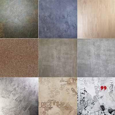 Ассортимент покрытий, созданных штукатуркой на бетонной стене