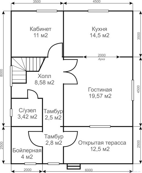 Дом 8х10 с двумя этажами