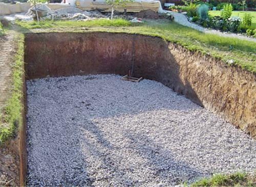 Дренажная подушка служит своеобразным буфером между почвой и бассейном, предотвращает его повреждение при промерзании грунта