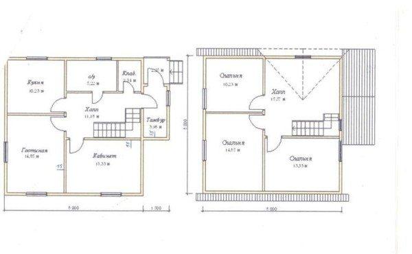Этот проект дома 8 на 8 из газобетона подойдет тем, кто экономит место на участке и склоняется к двухэтажным вариантам