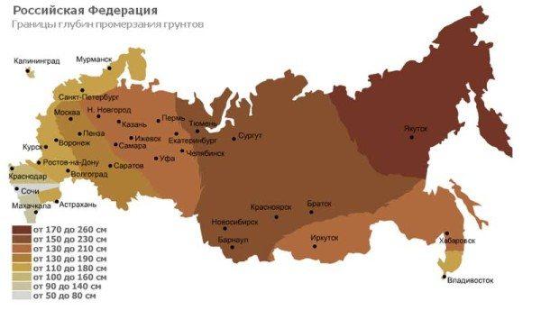 Глубина промерзания грунта в регионах РФ.