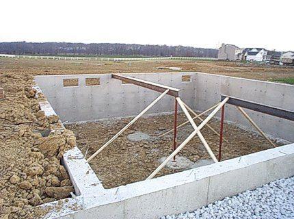 Готовый фундамент из газобетонных блоков