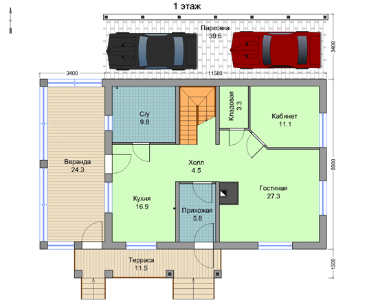 Графическая часть проекта, показывающая расположение комнат в здании с указанием их габаритов