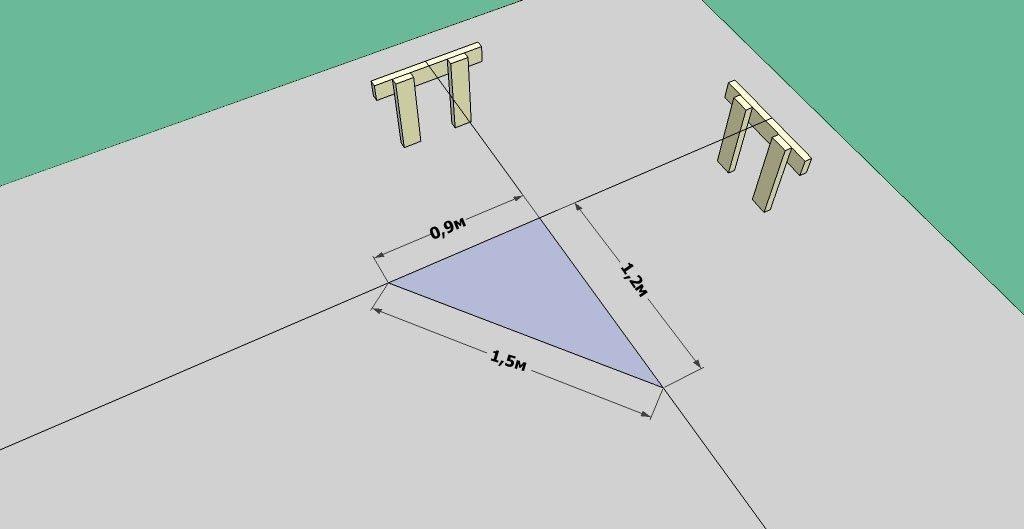 Графический пример проверки угла