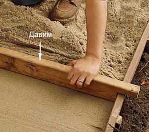 Гравий и песок очень удобно ровнять при помощи простой рейки, вырезанной по ширине дорожки