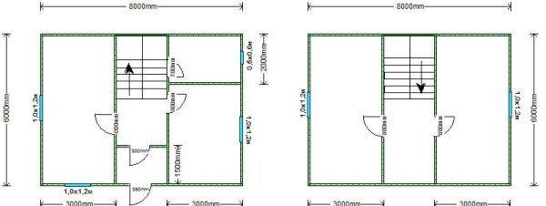Интересный проект двухэтажного дома 6 на 8