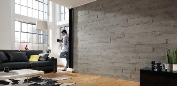 Изготовленные из МДФ стеновые панели под бетон для внутренней отделки жилого помещения в интерьере.