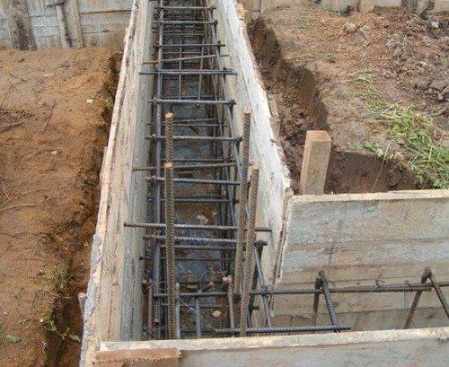 Конструкция, подготовленная к заливке бетоном