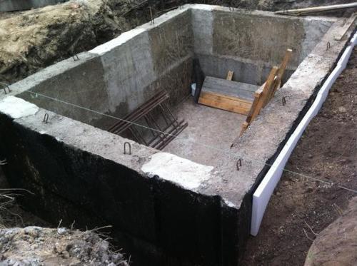 Конструкция, защищенная обмазочной гидроизоляцией.