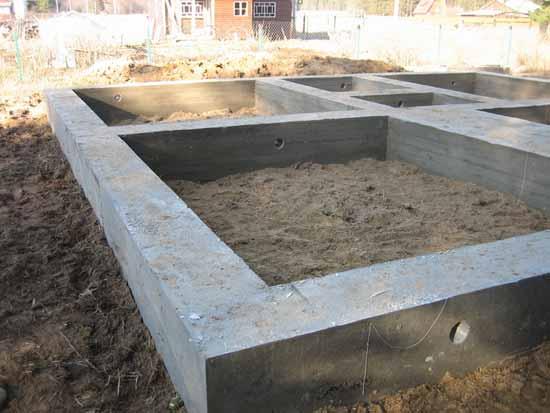 Ленточный фундамент из армированного бетона