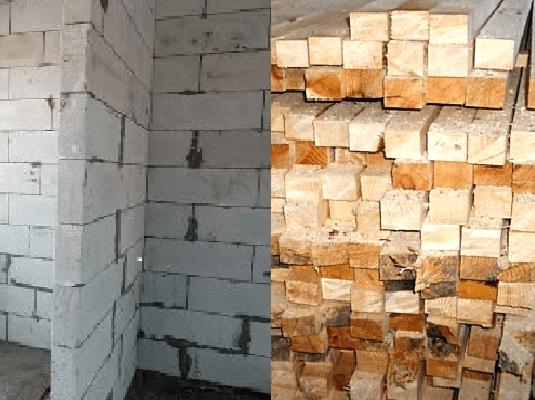 Любительское фото стены из газобетонных блоков и бруса из массива