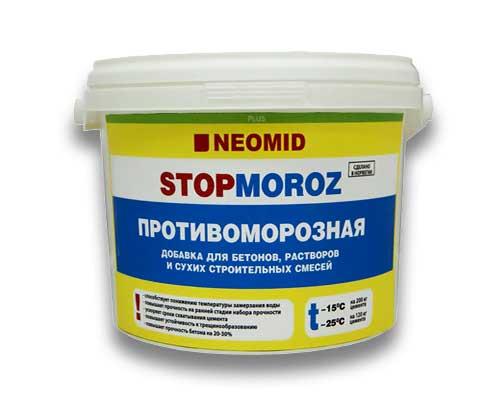 На фото - добавка в бетон для морозостойкости Neomid Stopmoroz