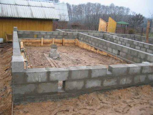 На фото - фундамент ленточный из блоков 200х200х400
