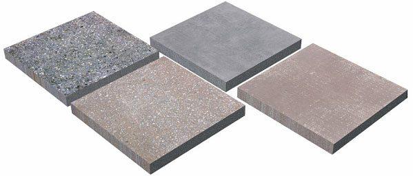 На фото - несколько видов бетонных плит для облицовки пола