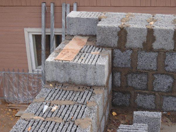 На фото – строительство дома из керамзитобетонных изделий