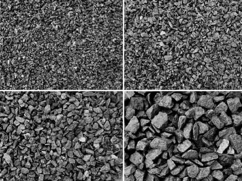На фото щебень, получаемый путем дробления различных минералов горных пород