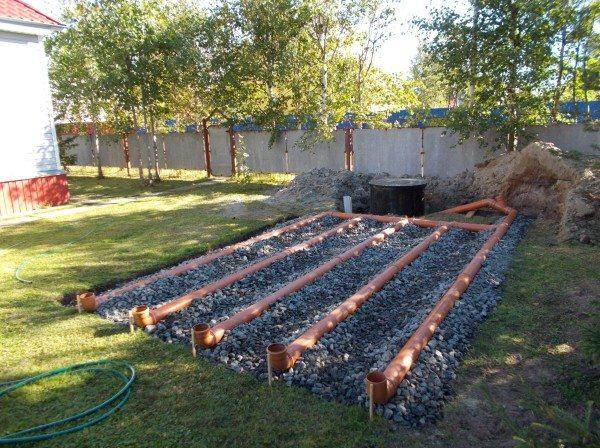 На грунтах с низкой впитывающей способностью вместо колодца используется другая конструкция - поле фильтрации.