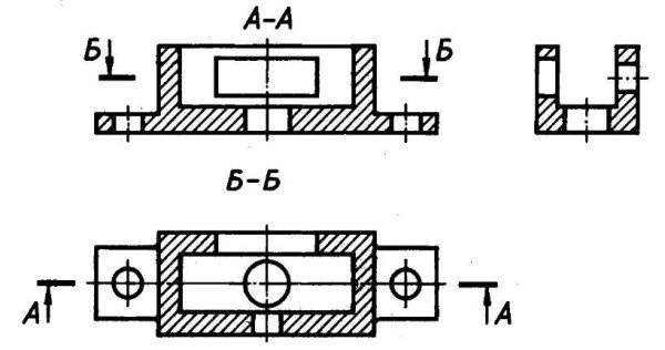 На всех сечениях одной детали шаг штриховки одинаков.