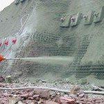 Нанесение торкрет-бетона на вертикальную плоскость