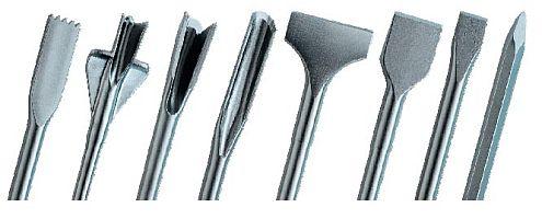 Насадки для перфоратора: первая слева – зубчатая лопатка