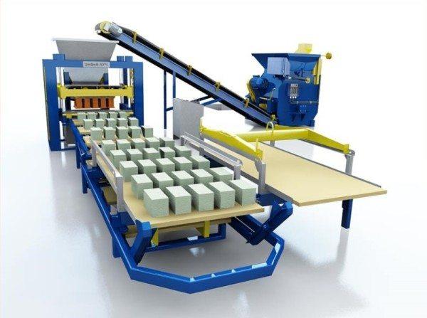 Настоящая автоматическая линия для керамзитобетонных блоков