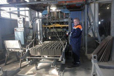 Оборудование для изготовления керамзитобетонных блоков в работе