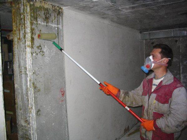 Обработка стен подвала с целью защиты поверхности.