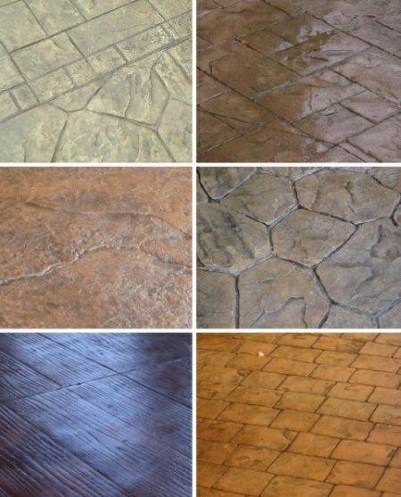 Образцы окрашенного штампованного бетона.