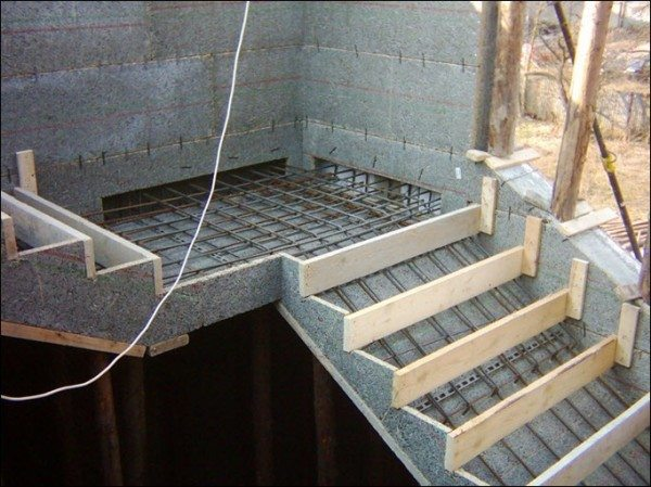 Опалубка для заливки лестницы