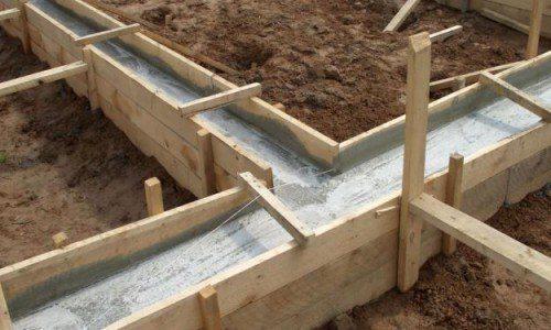 Опалубка, заполненная бетоном