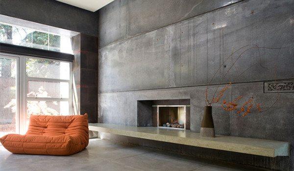 Оригинальная отделка стен под бетон в современном интерьере.