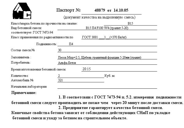Паспорт на партию раствора, в котором указаны все его характеристики