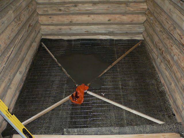 Заливка пола в бане бетоном своими руками