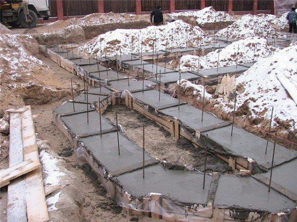 При укладке бетона на непромерзший грунт нижняя поверхность фундамента исключается из расчетов.