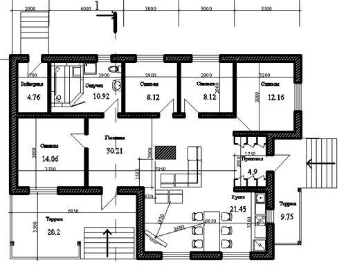 Пример простого проекта в один этаж, который строится из бетонных блоков