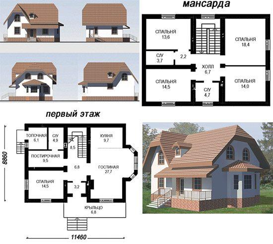 Проект дома из пенобетона с мансардой