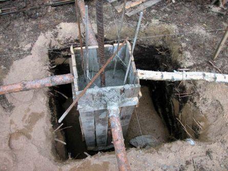 Процесс заливки фундамента для колонны