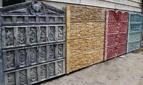 Различные дизайнерские воплощения бетонных секций для заборов