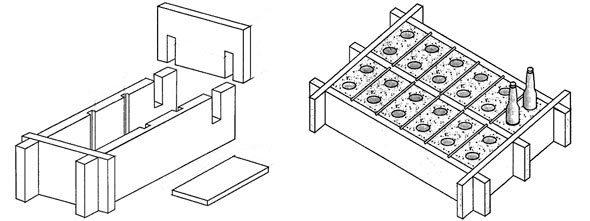 Самодельная форма для бетонных блоков.