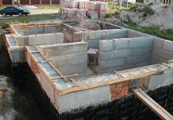 Сборный железобетонный ленточный фундамент является сразу же и стенами подвала
