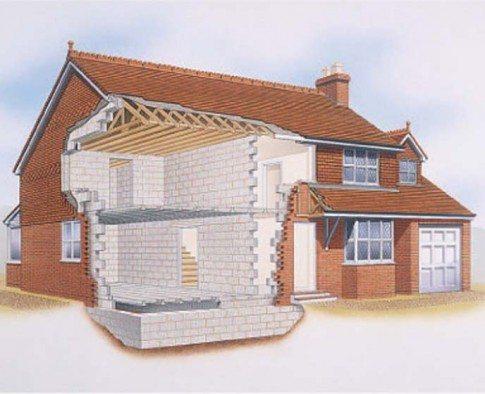 Схема дома в разрезе, где наглядно показано использование обоих рассмотренных выше строительных материалов