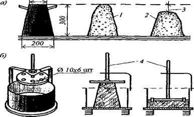 Схема испытаний: 1 - образец после снятия конуса; 2 - осевший образец; 3 - величина осадки; 4 - диск, продавливающий образец на вибростоле.