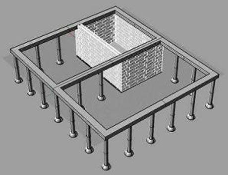 Схема ленточно-столбчатой конструкции.