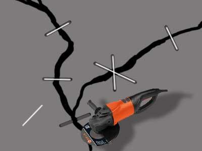 Схема расшивки трещины