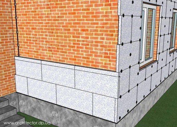 Схема размещения панелей из пенополистирола на внешней стене здания.