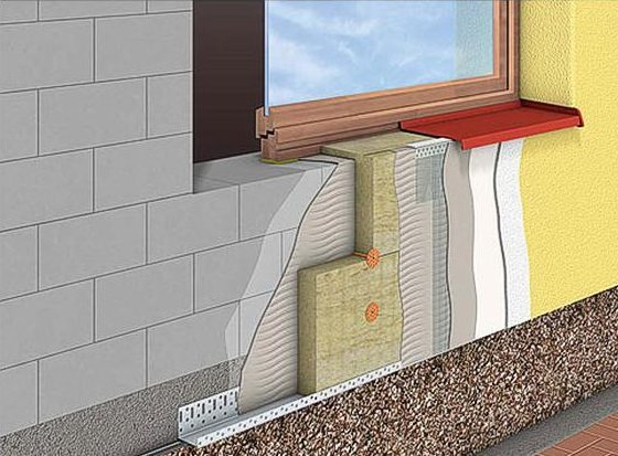 Схема утепления внешней стены здания в разрезе.