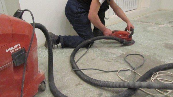 Шлифование бетона с пылеотсосом