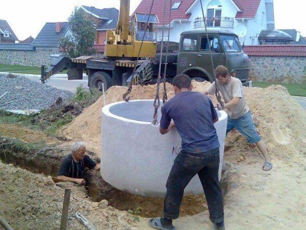 Сколько стоит вкопать бетонное кольцо - зависит от способа монтажа.