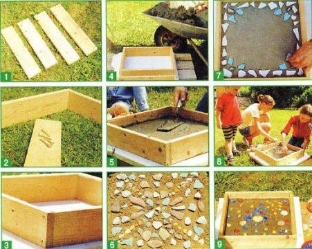 Сооружение плиток для садовой дорожки